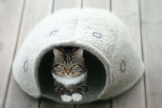 Cat cave hand felted