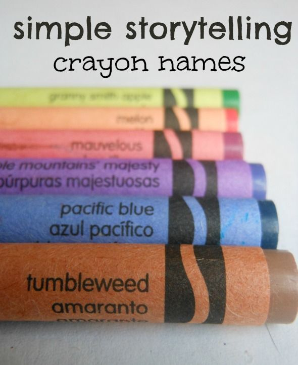 Simple storytelling activity using crayon names
