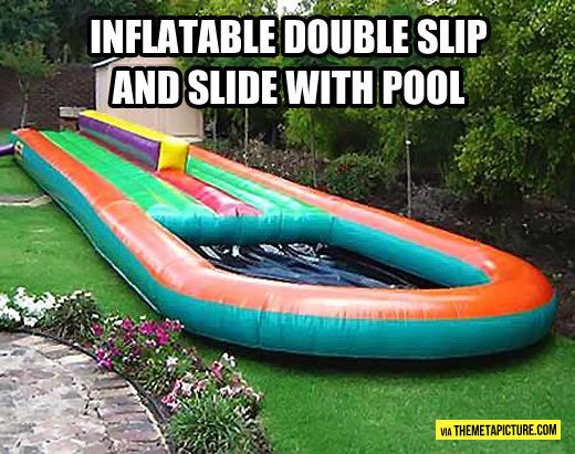 Inflatable double slip-n-slide with pool