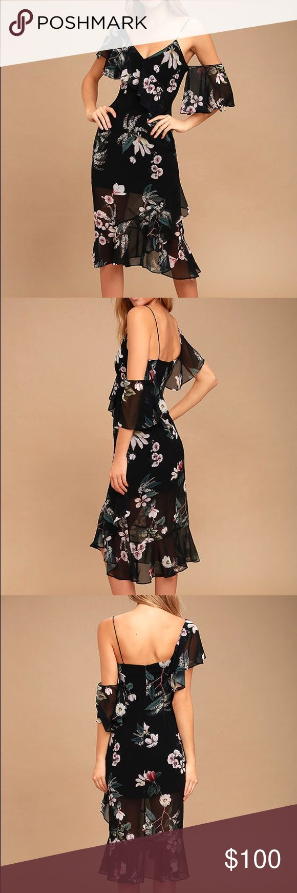 Keepsake Cosmic Girl Black Floral Print Midi Dress Keepsake off the shoulder asymmetrical bodice dress in a dark tropical print.  Never been worn, new with tags. KEEPSAKE the Label Dresses Midi