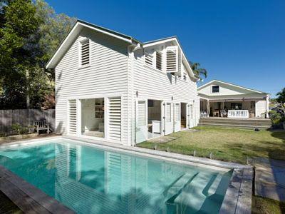 Lovely white weatherboard beach house outside Sydney, Australia.