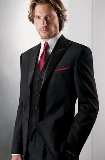 Calvin Klein 1000 Black, peak lapel, two-button tuxedo ...