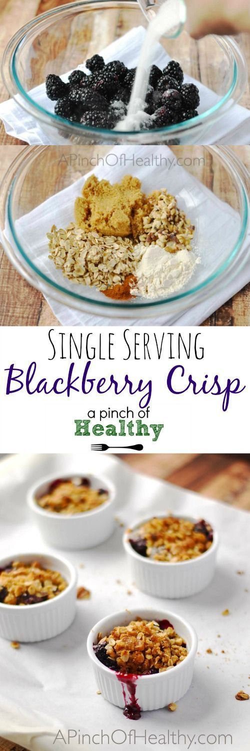 This single serving blackberry crisp is so tasty, warm and comforting. And you'll be surprised at how easy it is to make! | APinchOfHealthy.com