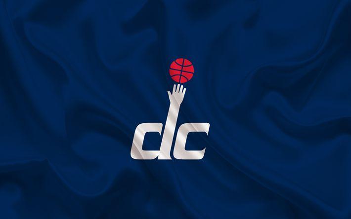 Download wallpapers basketball, Washington Wizards, Basketball club, NBA, Washington, USA, emblem, Washington Wizards logo, blue silk