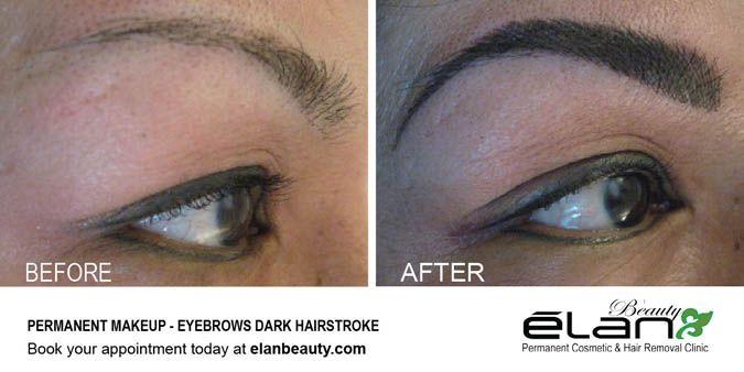 Permanent makeup - Dark eyebrow hairstrokes #permanentmakeup #eyebrowtattoo #eyebrows