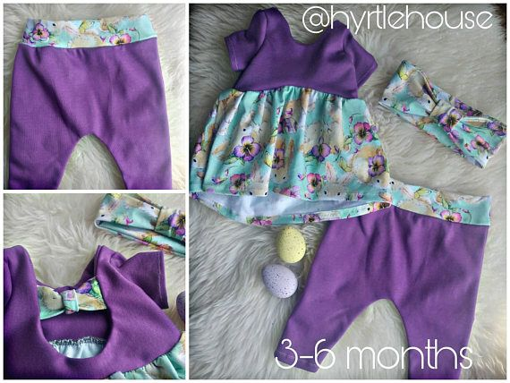 3-6 month baby girl Easter outfit with bunnies and headwrap