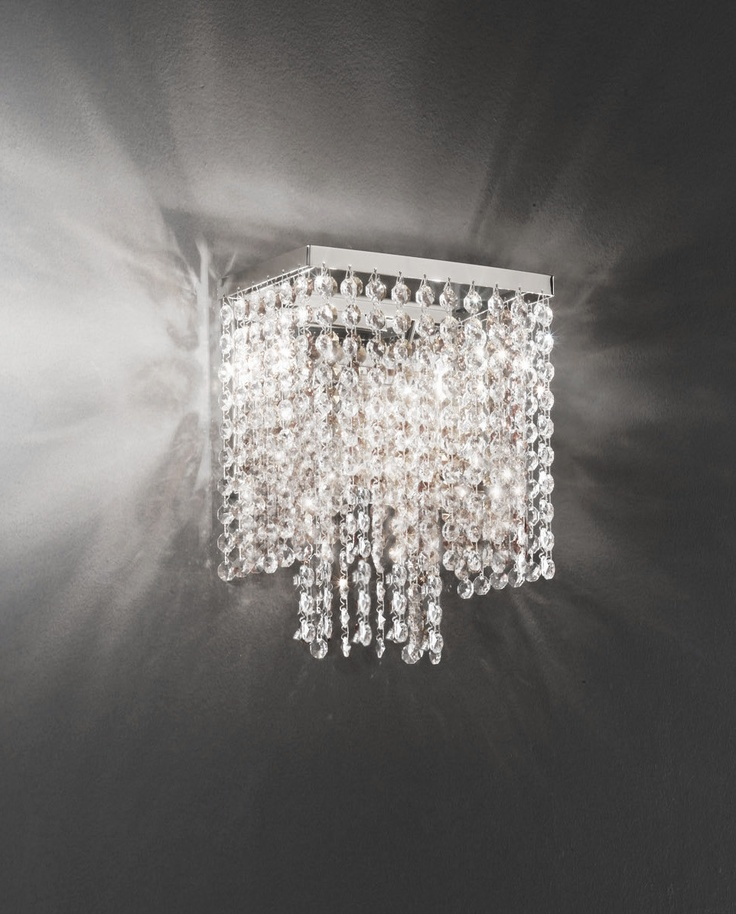 $310 Cristalstrass Rainbow Square 2 Light Crystal Wall Sconce