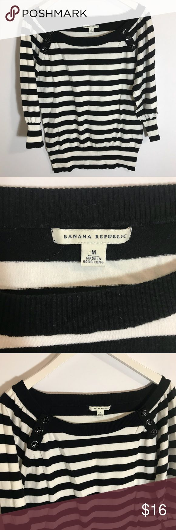 Banana republic striped top Banana republic striped top  size medium  three buttons on each side of shoulders  in excellent condition no flaws Banana Republic Tops