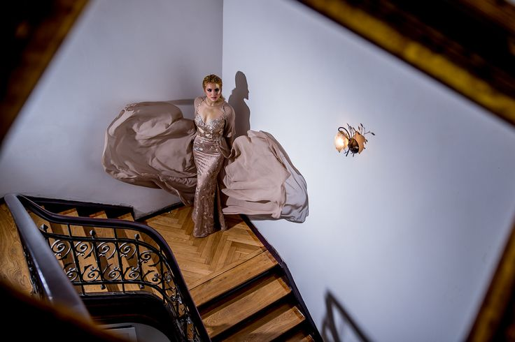 A-line evening gown, created from beautiful lace and veil café-ole   Fashion by Laina   Golden Shades Evening Gown Collection