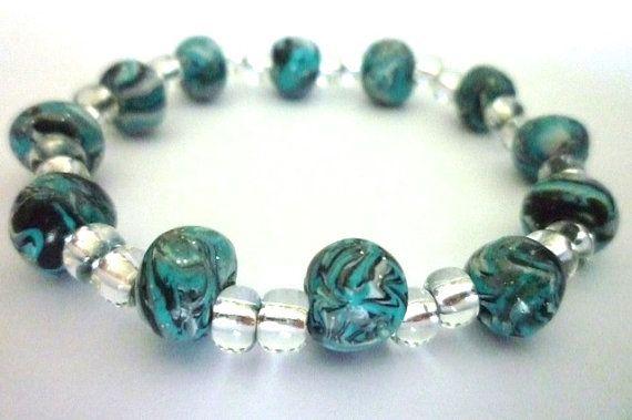 elegant Bracelet in Fimo polymer clay Blue beads by ByAzalea, 10.00