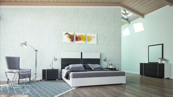 Nova Domus Corrado Italian Modern White & Grey Bedroom Set