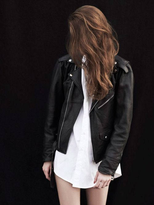 leather jacket for toughness matched with white dress for a touch of softness! :)