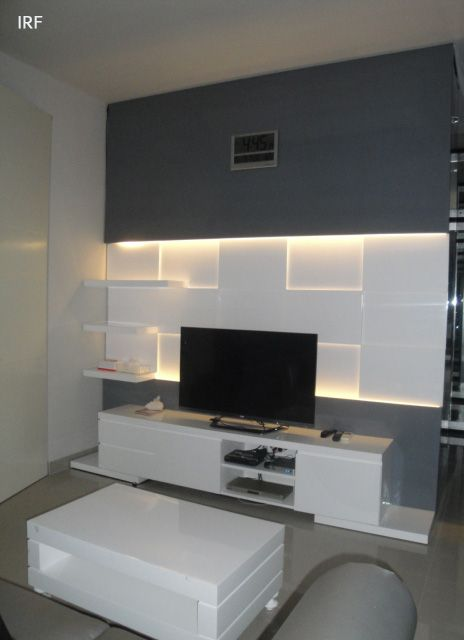 Latest Tv Unit Design: David's Master Bedroom #tv Panel #mirrored #white #irafra
