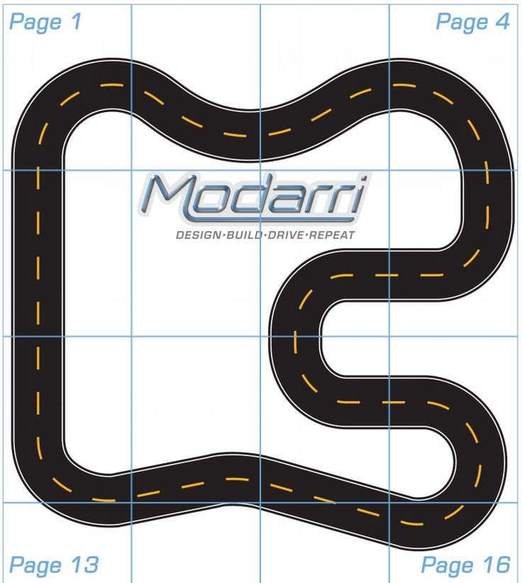 printed toy car race track layout
