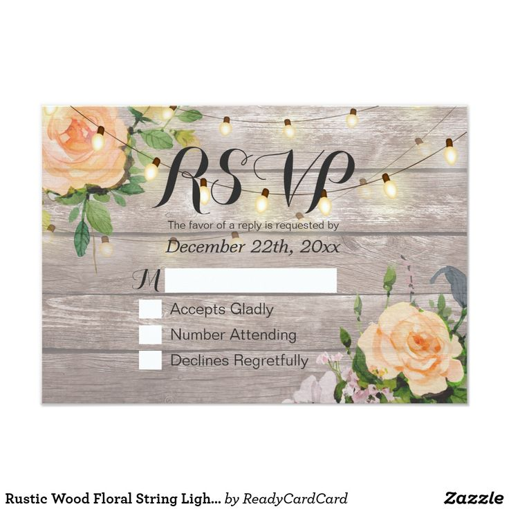 Rustic Wood Floral String Light Wedding RSVP Reply Card Wedding RSVP Reply Card Templates - Elegant Script with Peach White Roses Floral and String Lights on Rustic Wood Background. A Perfect Design For Your Big Day! All Text Style, Colors, Sizes Can Be Modified To Fit Your Needs.