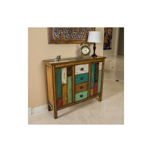 Decorative Wood Cabinet Rustic Contemporary Storage Furniture Vintage TV Stand #Contemporary