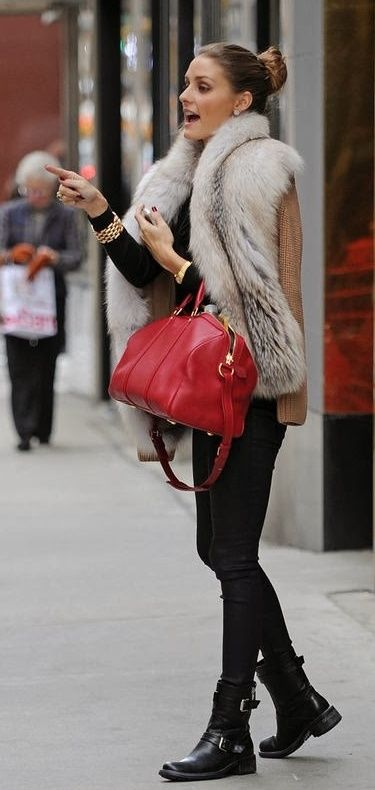 fur w/knit sleeves + black on black + boots + red purse