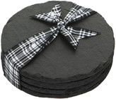 Just Slate Coasters-Round: Box set of 4 Slate Coasters. Coasters come without the ribbon in the image.