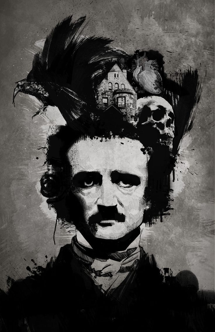 """Edgar Allan Poe (1809 -1849)    'Once upon a midnight dreary, while I pondered, weak and weary,  Over many a quaint and curious volume of forgotten lore,  While I nodded, nearly napping,   suddenly there came a tapping,  As of some one gently rapping,   rapping at my chamber door.  """"'Tis some visitor,"""" I muttered,   """"tapping at my chamber door-  Only this, and nothing more.""""  '      (Raven 1845)"""