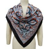 "Black Pure Cotton Floral Scarf Summer Women Wrap Stylish Stole India 40"" X 40"""