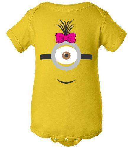 Una bebe Minion!! ----- Girl Minion Onesie | Infant Baby Rib Bodysuit | Girl Despicable Me birthday outfit!