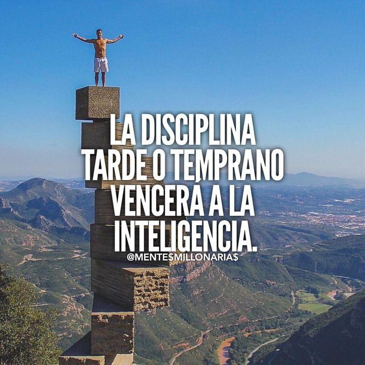 La disciplina tarde o temprano vence a la inteligencia. Muy cierto! Inspiración para lograr tus metas.