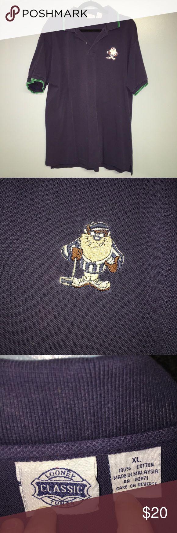 Taz Looney Tunes Polo Golf Shirt 1995 Machine washable. 100% Cotton Looney Tunes Shirts Polos