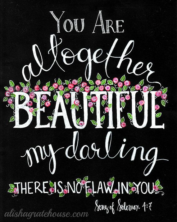 You Are Altogether Beautiful - Scripture Chalkboard Art Print (8x10) Song of Solomon 4:7 - Hand Lettered Bible Verse - Pink Roses