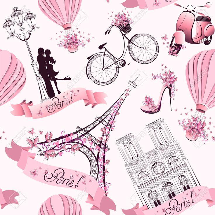 Paris Szimbólumok Seamless, Motívum, Romantikus Utazás Párizsban Royalty Free Clip Artok, Vektorokt és Stock Illusztrációk. Image 30541807.