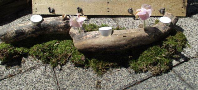 Kerzenständer - Holz Kerzenhalter mit Vasen - ein Designerstück von Dekolady bei DaWanda