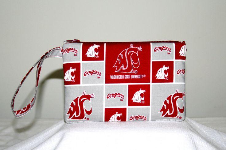 Washington State Wristlet cell phone Bag, Washington State College Bags, Small Padded Tech Bag, College Bags, Student Gifts by HandmadebyShelia on Etsy