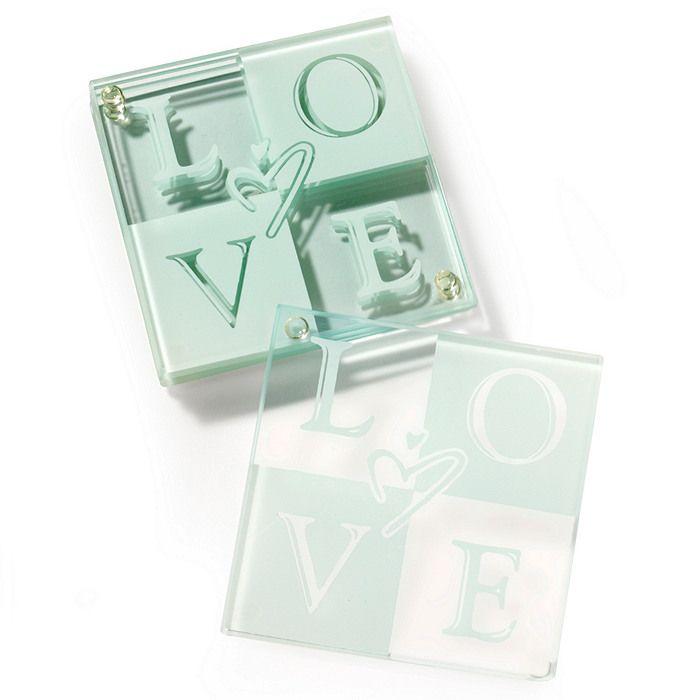 LOVE Glass Coaster Favor Set