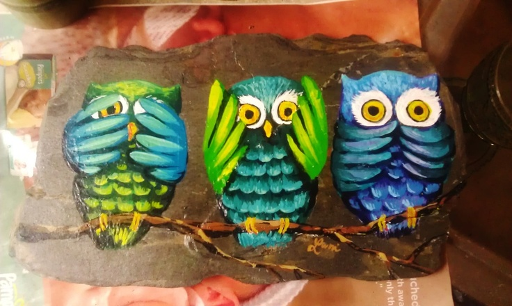 See no evil, hear no evil, speak no evil owls painting on slate by Lani Walling.