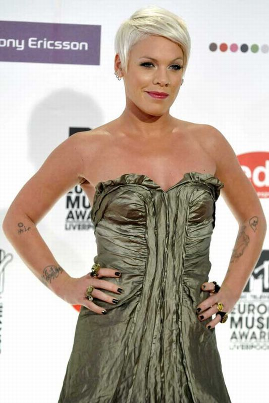 Outspoken singer Pink is an ink fanatic, as evidenced by her twenty-plus tattoos across her body.   Both her and husband Carey Hart have spent a lot of time in the parlour.