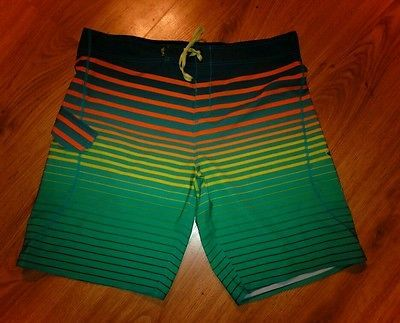 Men's Salt Life SLX-QD Vapor Stretch Board Shorts Swim Surf Size 38 Aqua Stripe