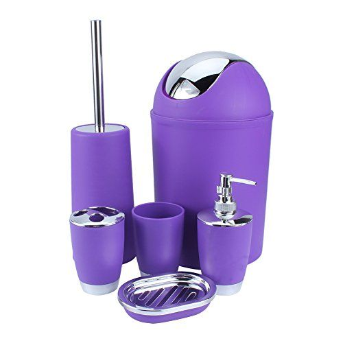 48 best bathroom accessory sets images on pinterest for Purple toilet accessories