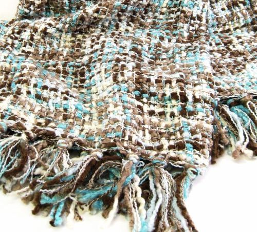 Detalles Acerca De Cynthia Rowley Throw Blanket 50 X 60 Nubby Weave Aqua Brown Ivory New With Tag Brown Throw Blankets And Aqua