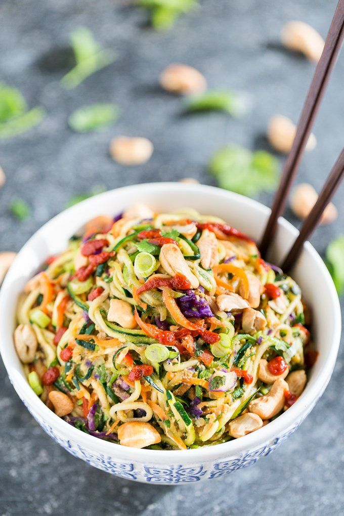 Pin for Later: Summery Zoodle Recipes to Keep Dinner Healthy and Light Rainbow Veggie Dragon Zucchini Noodles Carrots + bell peppers + zoodles, get the recipe here.