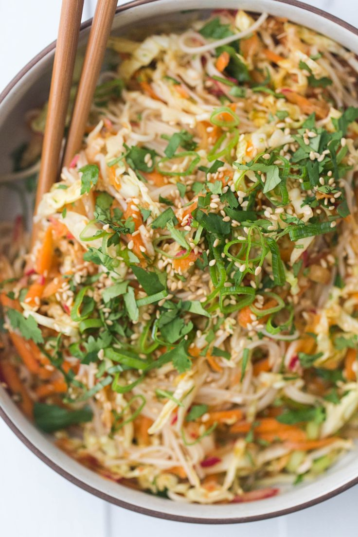 Vegan Cold Somen Noodle Salad with raw vegetables (carrots, cabbage, scallions, radish)
