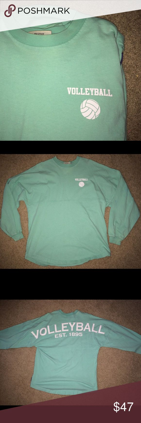Spirit jersey volleyball long sleeve This long sleeve is super comfy and very cute! I love these types of shirts Suitable for just being at home or casual :) Mint green/teal color. Small bleach marks from wash but hardly noticeable! Spirit Tops Tees - Long Sleeve