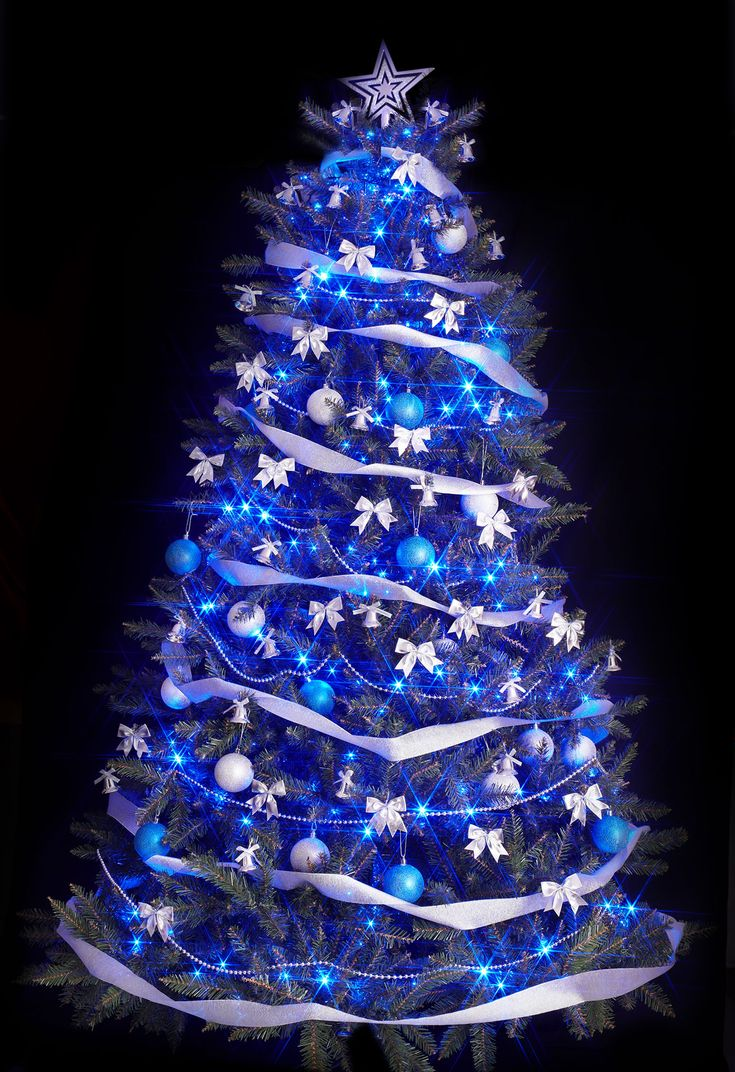 White christmas tree with purple and blue decorations - 34 Blue Christmas Tree Decorations Ideas