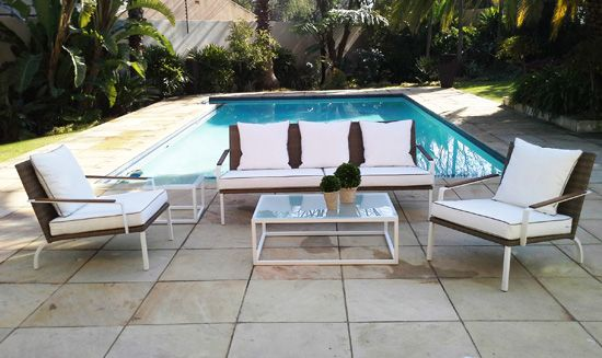 Outline Lounge Suite. Powder Coated Aluminum, UV stabilized Polycane and Fabric. Outdoor Patio Furniture. Removable Cushions. Outdoor Covers Available. Customizable Frame, Fabric and Polycane Colors.
