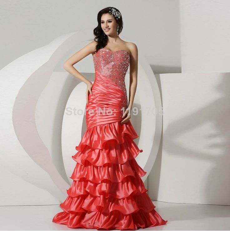 Free shipping Elegant  Sweetheart Strapless Beading Red Prom dress 2014 Mermaid Floor Length Evening Gowns 2014 New Style $136.00