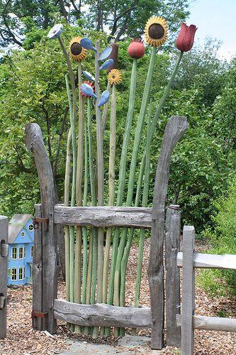 LOVE THIS!!!!!!! Whimsical garden gate - Berkshire Botanical Garden, located in Stockbridge, MA. ❤❦♪♫