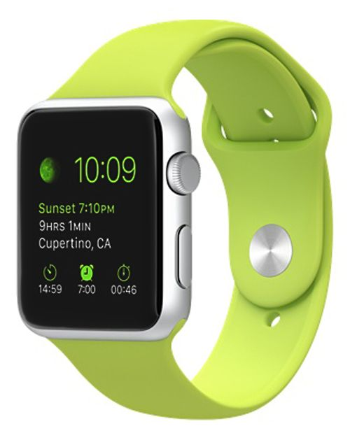 shop apple watch sport 38mm silver aluminum case with green sport band online at lowest price