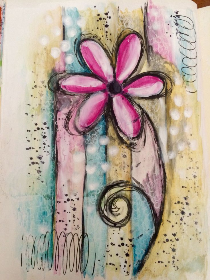 Watercolour mixed media art journal page ---- do with a fringe at bottom