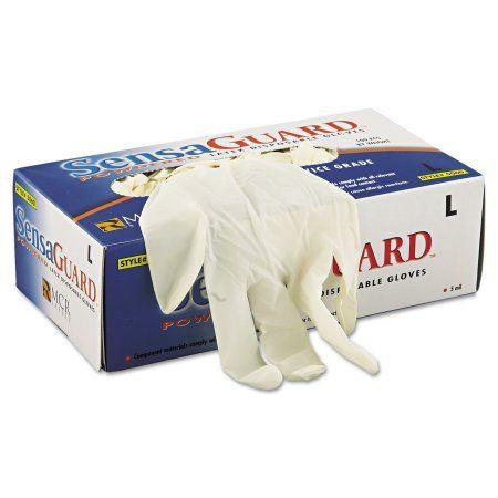 Memphis SensaGuard Industrial Grade Chlorinated Disposable Gloves, White, Large, 100/Box