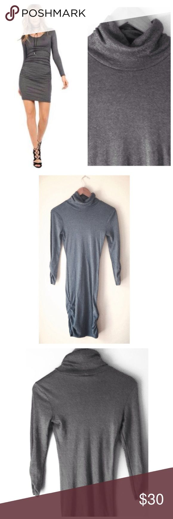 Michael Stars Shine Long Sleeve Turtleneck Dress Michael Stars Long Sleeve Turtleneck Dress. This dress is grey metallic with side gathering. The same as the cover photo except that this one is a turtleneck instead of a scoop neck. In great condition. and made from 58% cotton and 42% nylon. Great holiday dress!  One size fits all! 😄 Michael Stars Dresses Long Sleeve