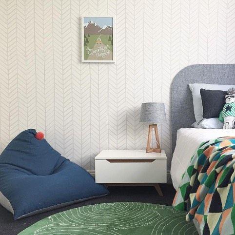 Beautiful room design by @nestforkidsinteriors featuring our Zig Zag Stripe wallpaper! We love it 😍 #interiordesign #interiors #wallpaper #kidsdecor #kidsinteriors