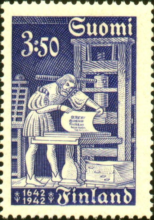 myimaginarybrooklyn:    Finnish Stamp Celebrating The 300th Anniversary Of The Printing Of A Bible.